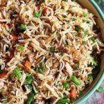 closeup shot of flavorful homemade veg fried rice