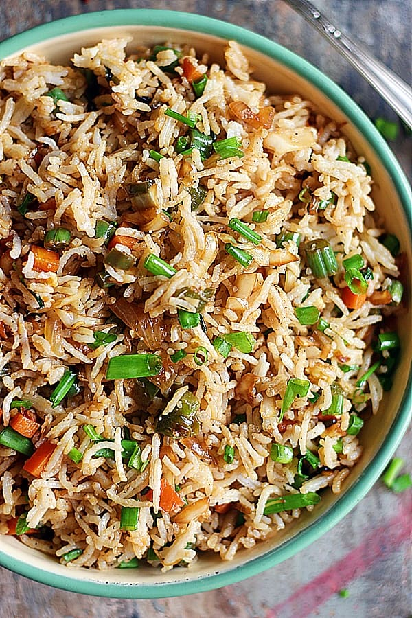 Easy best fried rice served in a enamel green bowl