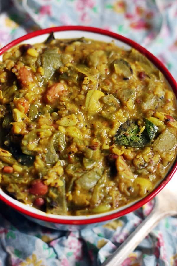 Closeup shot of avarakkai kootu or broad beans kootu