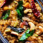Karnataka style bisi bele bath served in a rice bowl