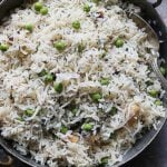 flavorful peas pulao or matar pulao served in a copper pan