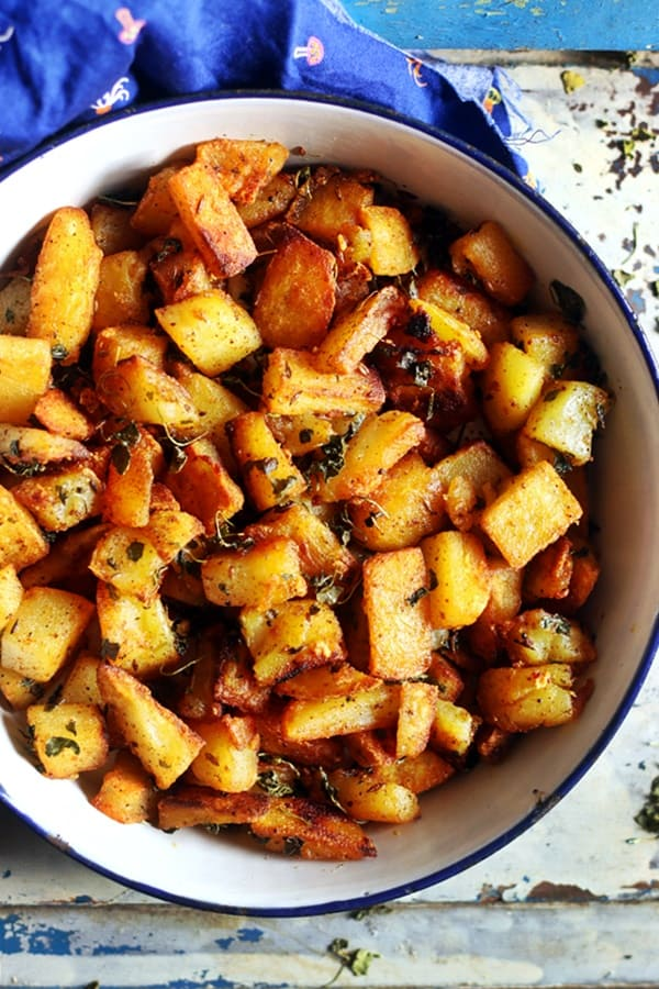 overhead shot of crispy potato roast
