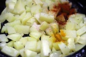 Seasoning cubed potatoes