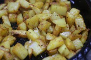 Golden brown potato stir fry