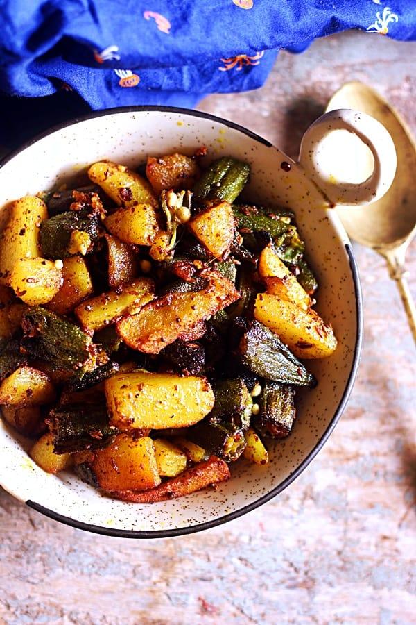 Aloo bhindi recipe bhindi aloo