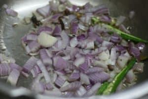 Sauteing onions for making maa ki dal recipe