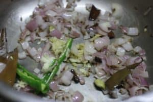 Sauteing ginger garlic for making maa ki dal recipe