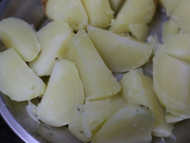 boiled, peeled and cubed potatoes