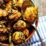 Closeup shot of aloo methi dry curry