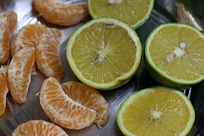 Fruits ready to be juiced for ganga jamuna juice