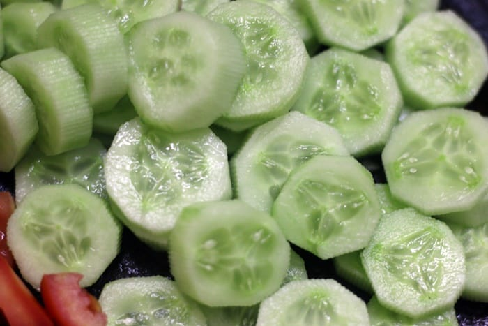 Chopped cucumber for making cucumber tomato salad