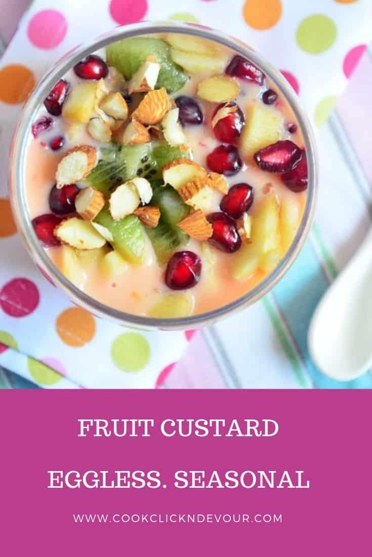 Eggless Fruit Custard Recipe