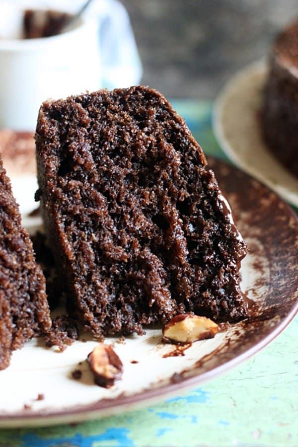 Closeup shot of a chocolate cake slice