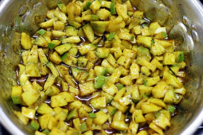making raw mango pickle