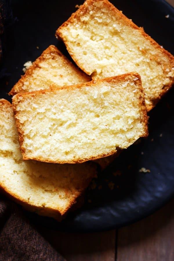 closeup shot of eggless plain cake or butter cake