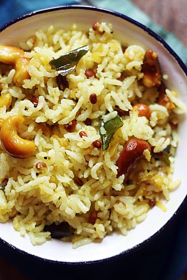 Closeup shot of raw mango rice