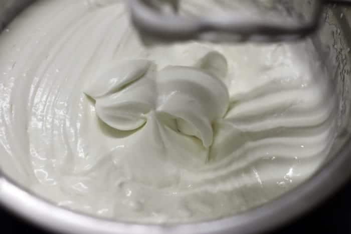 Whipped fresh cream for tender coconut ice cream