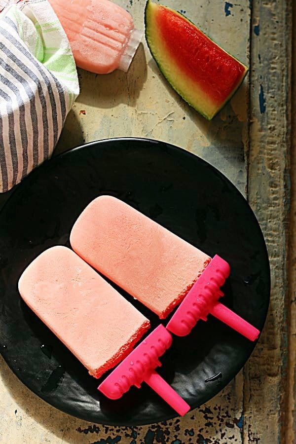 overhead shot of watermelon popsicles