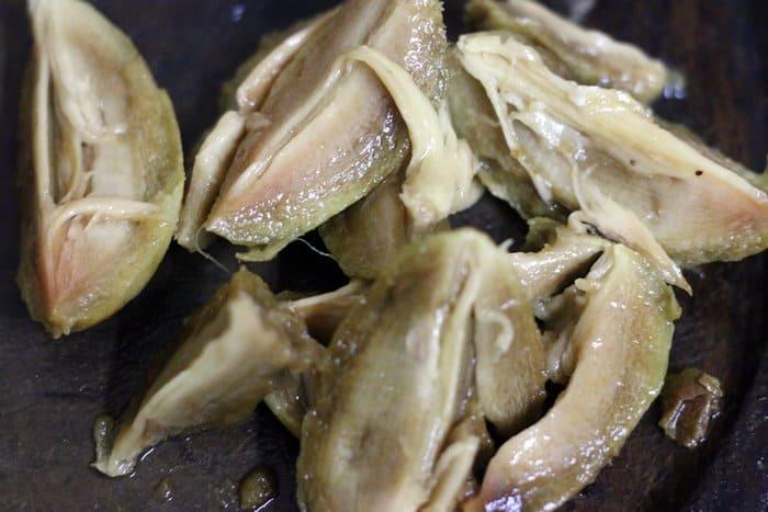 Peeled and chopped sapota