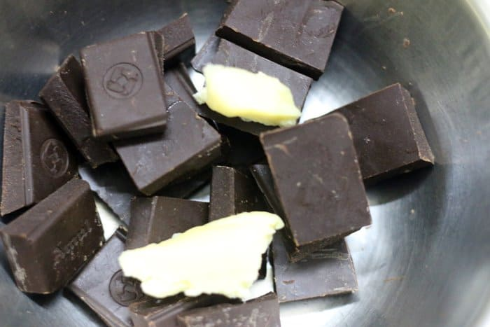 Butter added to chopped dark chocolate