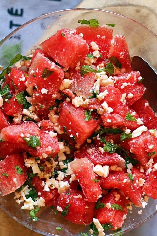 Closeup shot of fresh watermelon feta salad