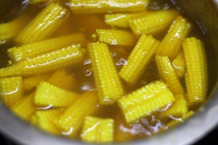 blanching the baby corns