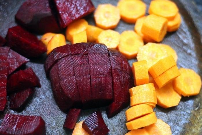 peeled & chopped beets, carrots