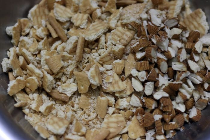 crushed biscuits and chopped almonds