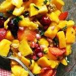Fresh mango salad served for dessert