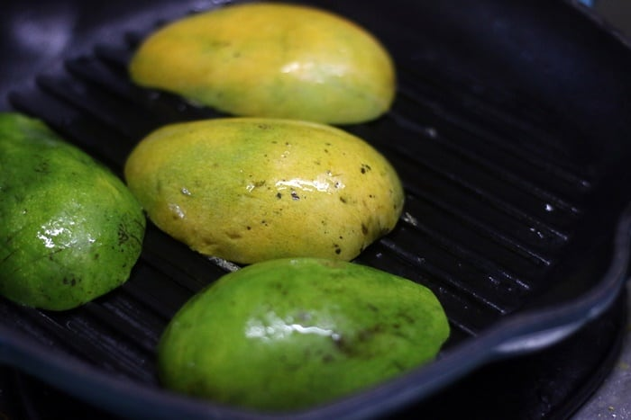 grilling mangoes