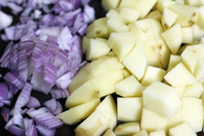 potatoes and onions chopped