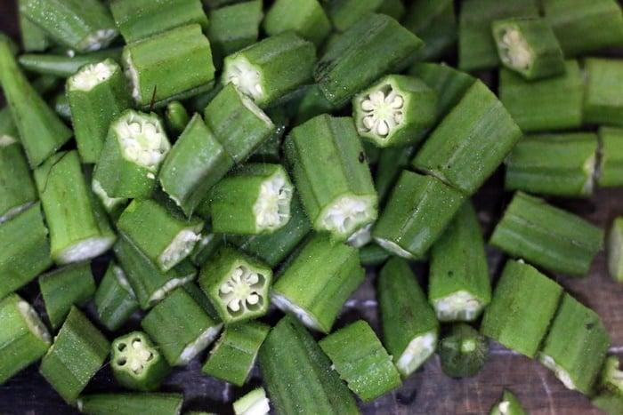 cleaned and chopped okra or bhindi