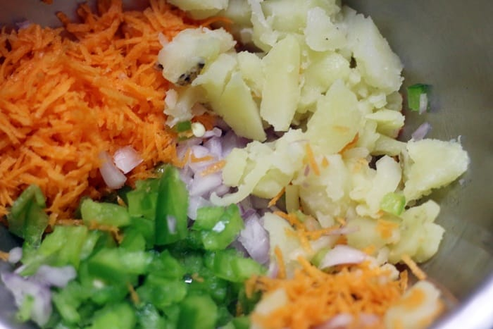 veggies for jhal muri snack