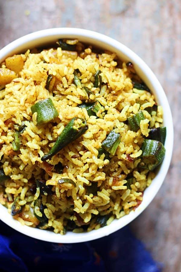 Okra Rice - Bhindi Rice