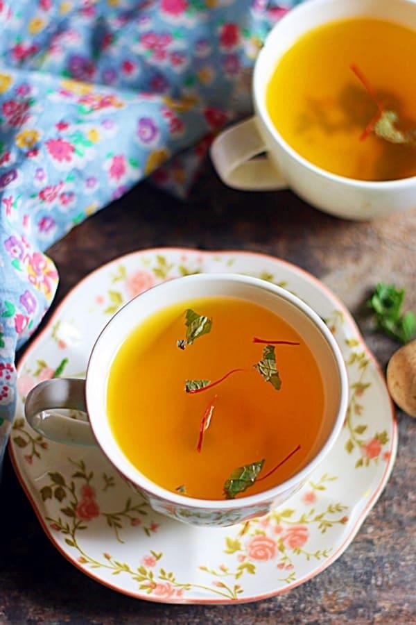 warm saffron tea