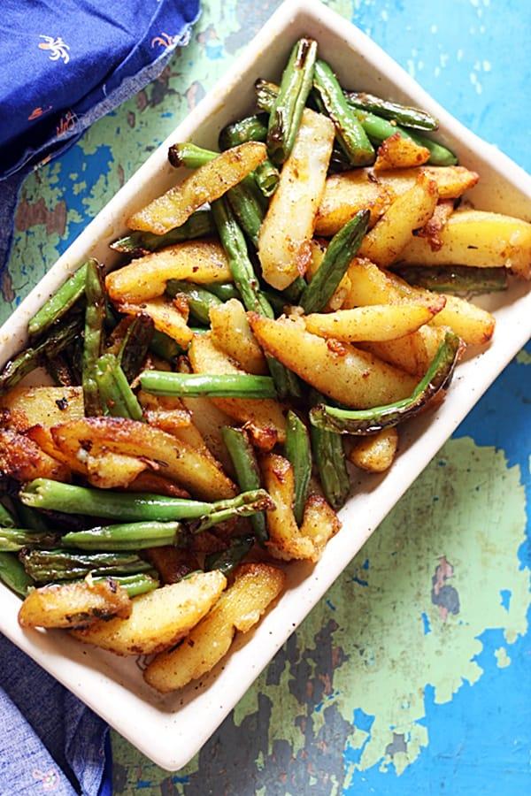 Aloo beans ki sabzi- spiced green beans potatoes recipe