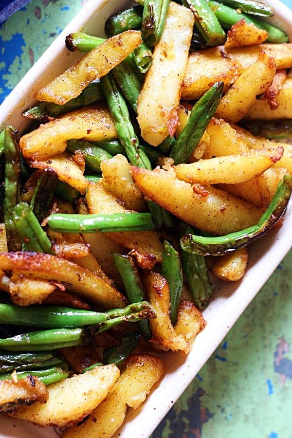 easy beans aloo sabzi- closeup shot