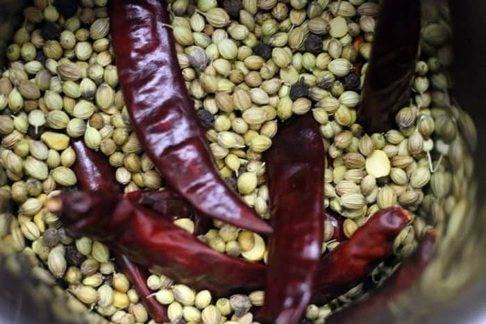 ingredients ready to grind for sambar powder