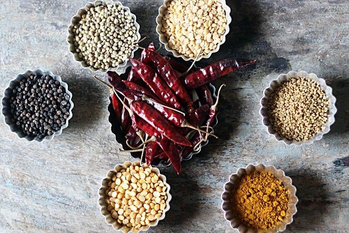 ingredients for sambar powder