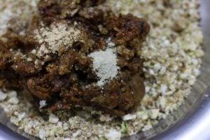 preparing dry fruits laddu