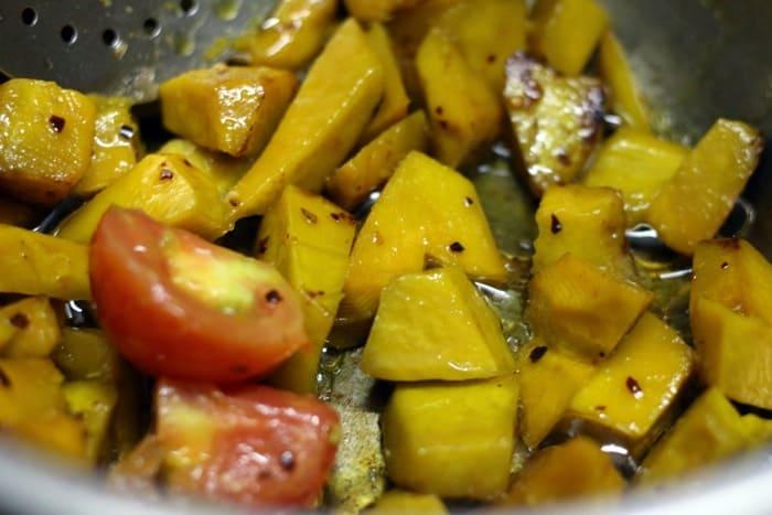 sauteing pumpkin for pumpkin sauce pasta