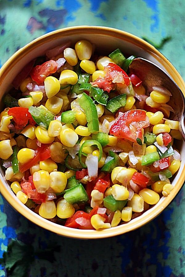 sweet corn salsa ready to serve