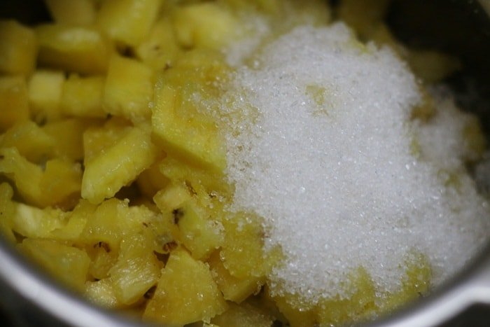 sugar added to choppe pineapples