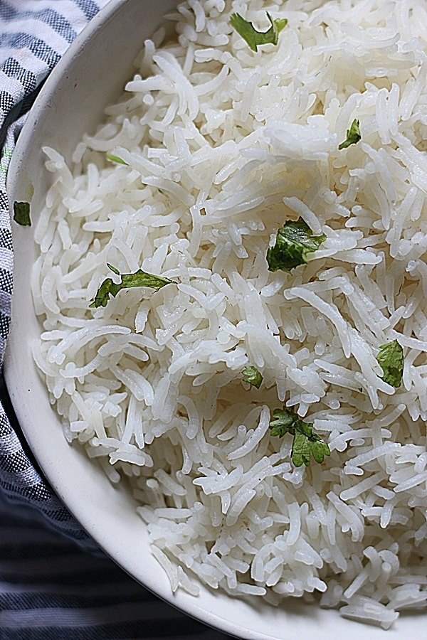 Closeup shot of perfectly cooked basmati rice