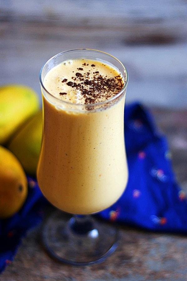 vegan mango milkshake ready to serve