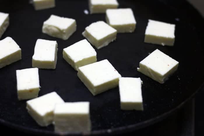 toasting cubed paneer