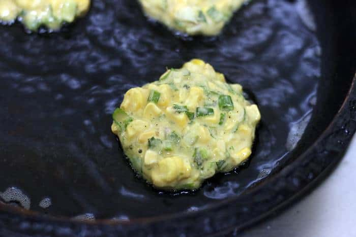 cooking corn fritters