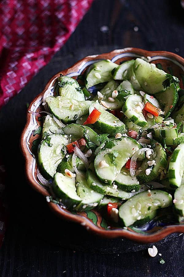 Asian style cucumber salad ready to serve.