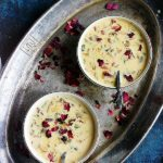 bowls of chilled basundi served in a metal plate