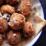 cloeup shot of vegan cauliflower nuggets